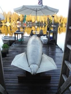 Drop tank from a 1950's jet fighter found in Lake Kathleen. Photo by Keith Lanan.