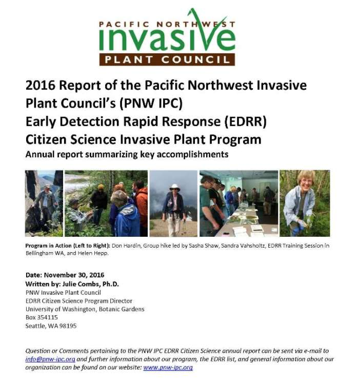 Cover page of the 2016 Report of the PNW-IPC's EDRR Citizen Science Invasive Plant Program