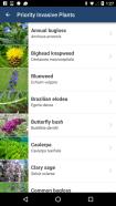 Screenshot of the WA Invasives smart phone app
