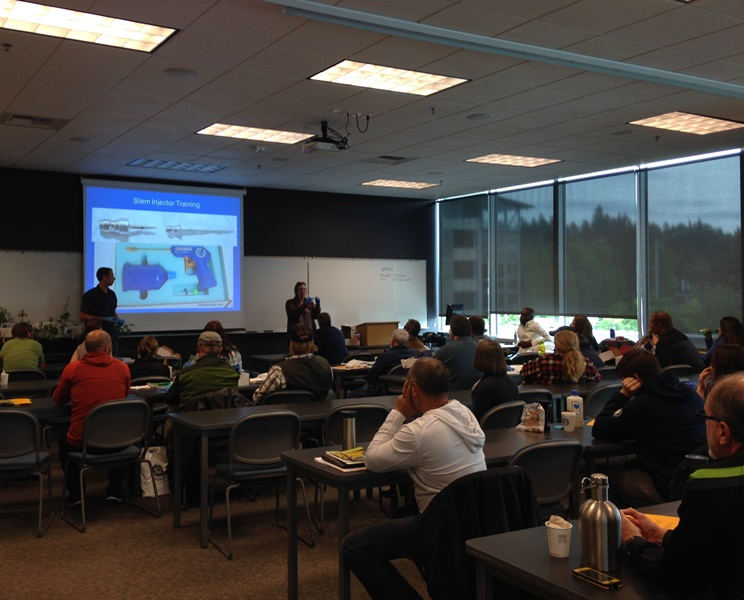 King County riparian weed specialists teach how to control knotweed at the 2016 noxious weed control seminar
