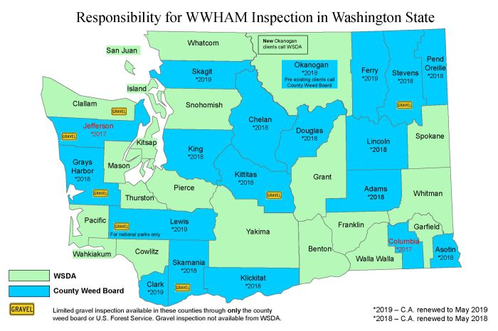 Washington Wilderness Hay and Mulch Inspection Map