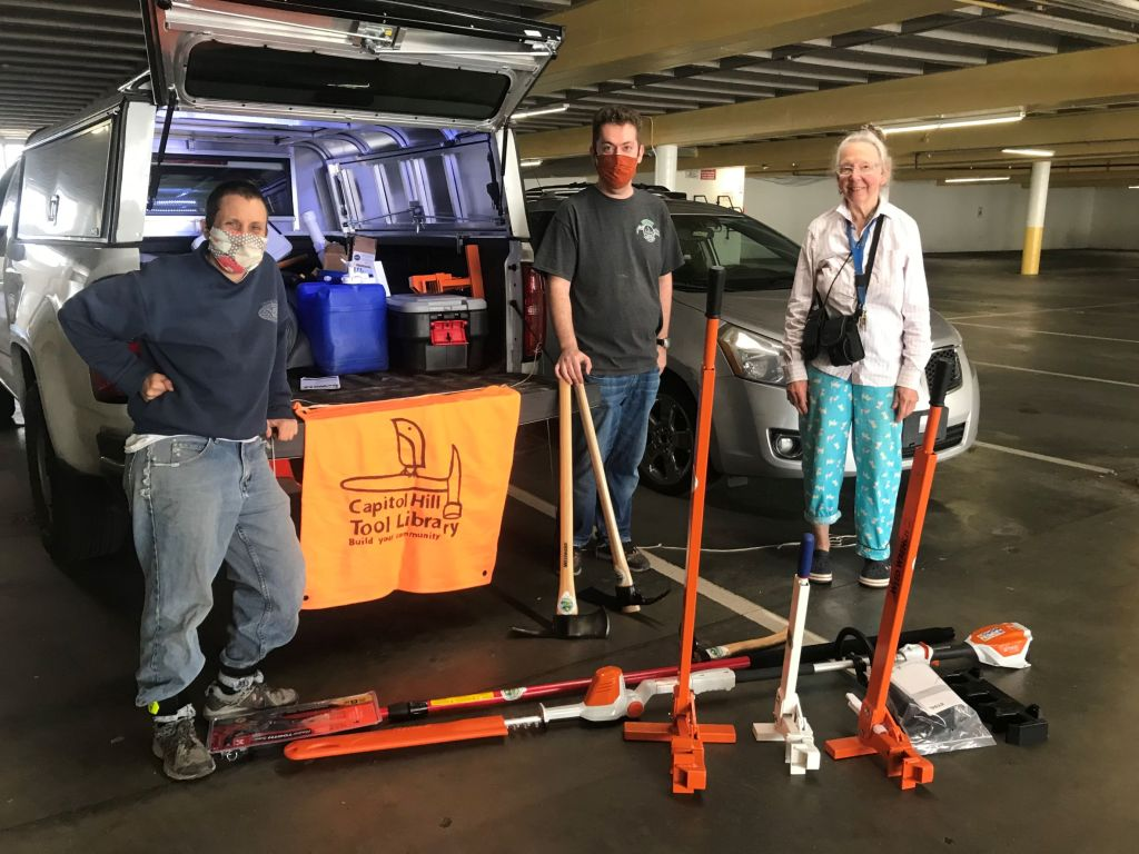 Capitol Hill Tool Library volunteers get supplied with weed wrenches and other weed control tools courtesy of King County Noxious Weed Control's Healthy Lands Project