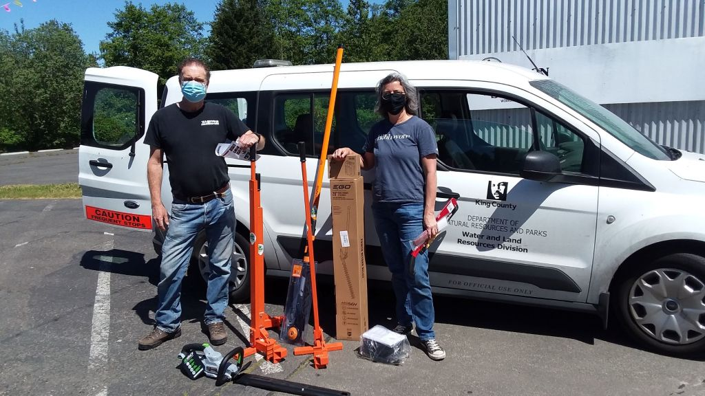 Vashon Tool Library takes delivery of their new weed wrenches, hedge trimmer, pole saw, and some sturdy digging tools