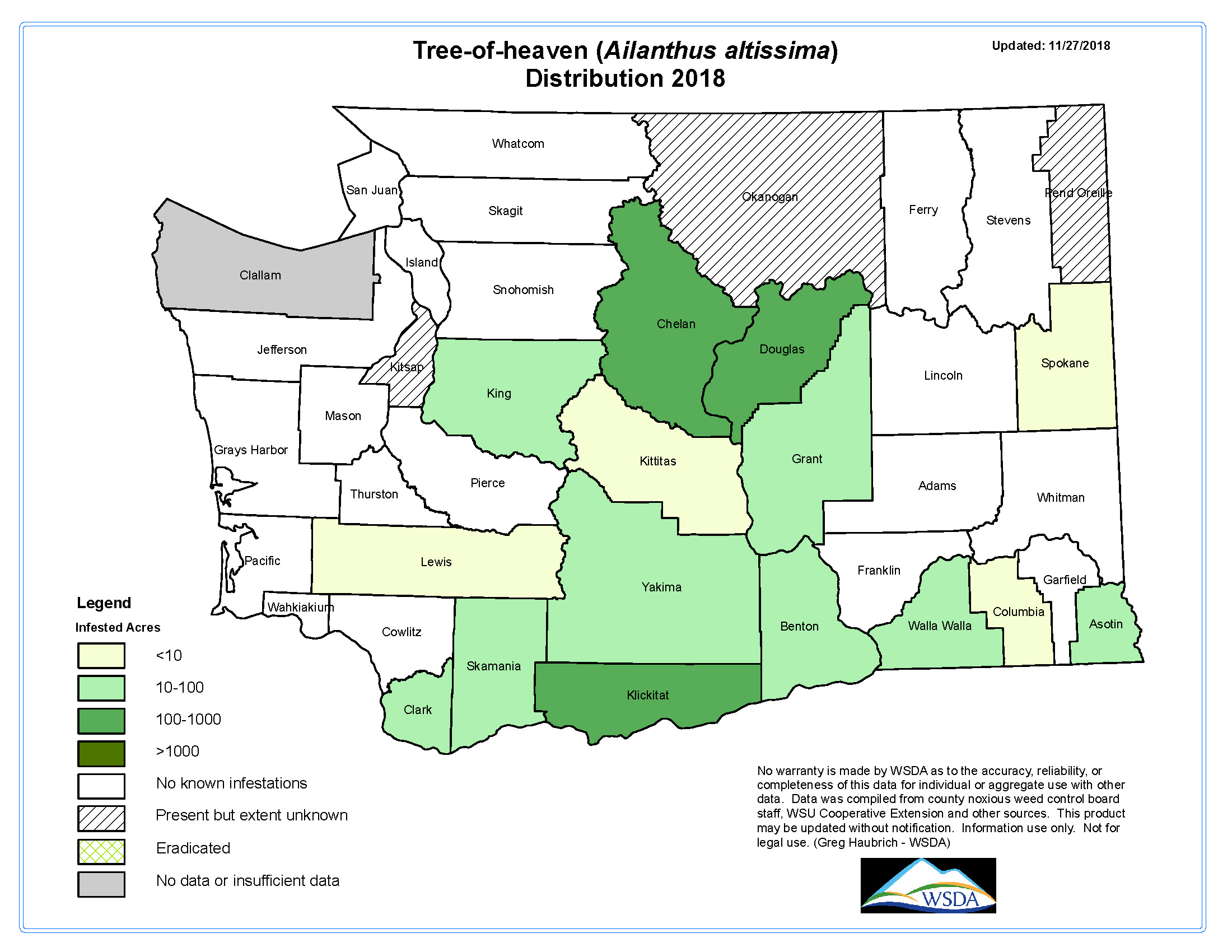 Tree-of-heaven distribution by county in 2018 in the state of Washington.